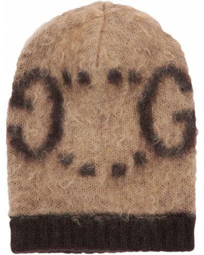 Brązowy kapelusz moherowy Gucci