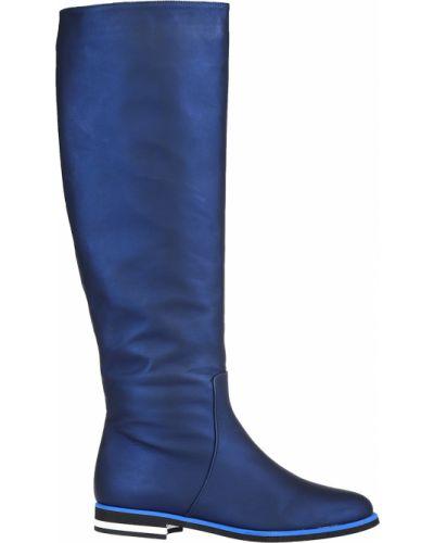 Ботфорты на каблуке кожаные синий Griff Italia