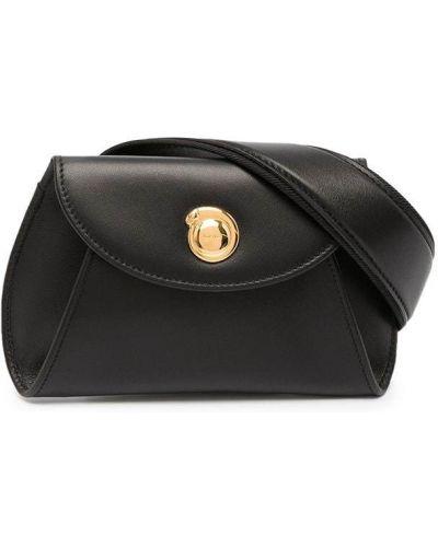 Кожаная черная поясная сумка винтажная Cartier