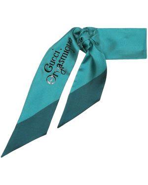Шелковый бирюзовый шарф Gucci