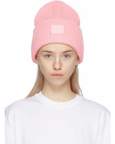 Шерстяная розовая шапка бини с заплатками Acne Studios