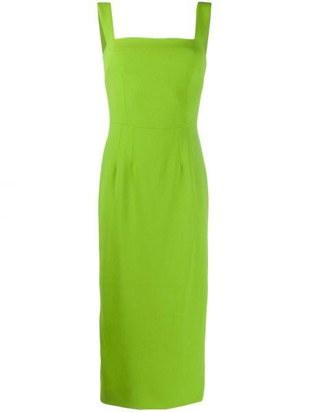 Шелковое приталенное вечернее платье без рукавов с вырезом Dolce & Gabbana