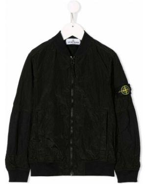 Черная куртка в рубчик Stone Island Junior