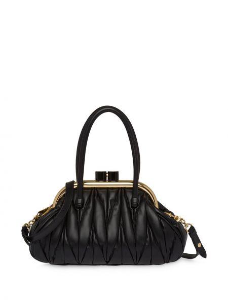 Skórzany torba z kieszeniami Miu Miu