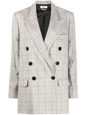 Серый удлиненный пиджак в клетку двубортный Isabel Marant étoile