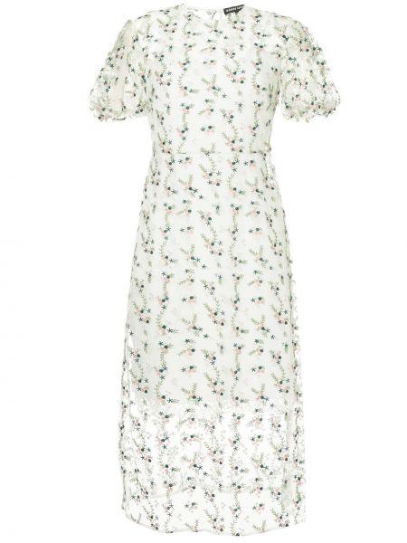 Нейлоновое расклешенное платье мини с вышивкой прозрачное Markus Lupfer
