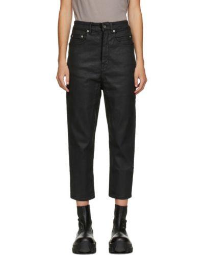 Черные укороченные джинсы стрейч Rick Owens Drkshdw