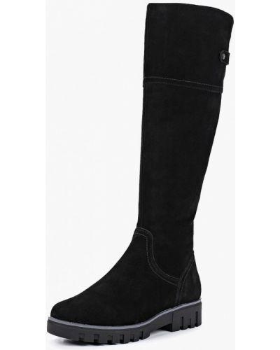 Ботфорты на каблуке замшевые черные Pierre Cardin