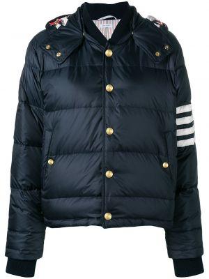 Шерстяная синяя куртка с капюшоном с манжетами на пуговицах Thom Browne