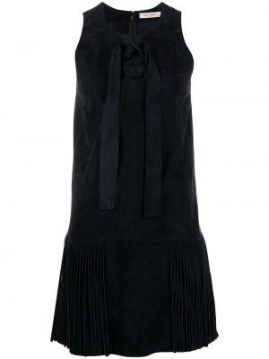 Кожаное синее платье без рукавов Yves Salomon