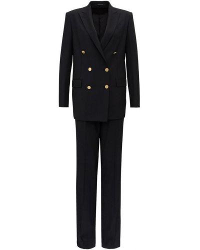 Czarny garnitur dwurzędowy wełniany zapinane na guziki Tagliatore