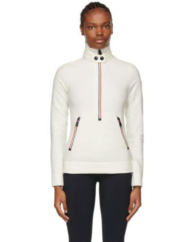 Czarna bluza w paski z haftem Moncler Grenoble