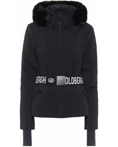 Черная куртка из искусственного меха с поясом Goldbergh
