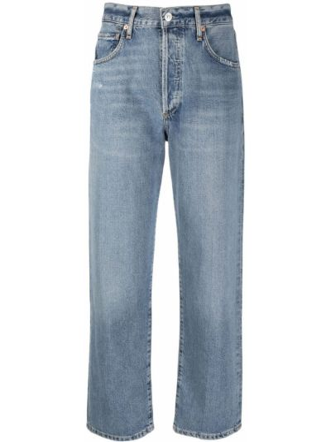 Хлопковые синие прямые укороченные джинсы Citizens Of Humanity