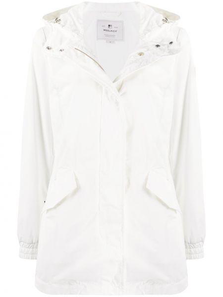 С рукавами коралловое шерстяное длинное пальто с карманами Woolrich