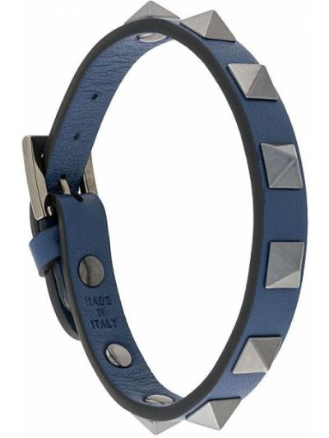 Niebieska bransoletka skórzana Valentino Garavani