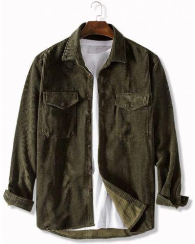 Зеленая рубашка вельветовая с карманами Zaful