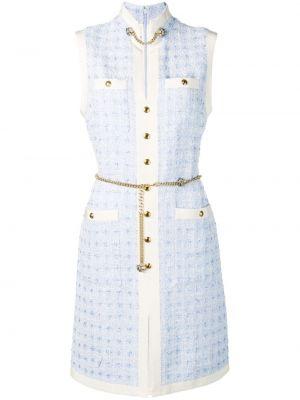Шелковое платье мини с воротником на молнии с карманами Gucci