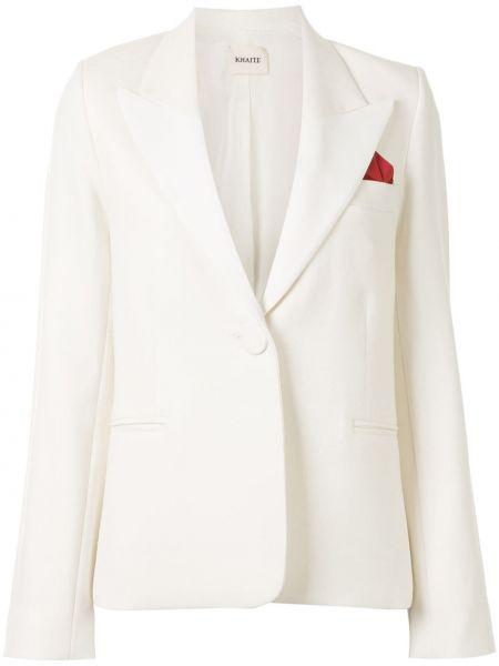 Шерстяной белый пиджак с карманами Khaite