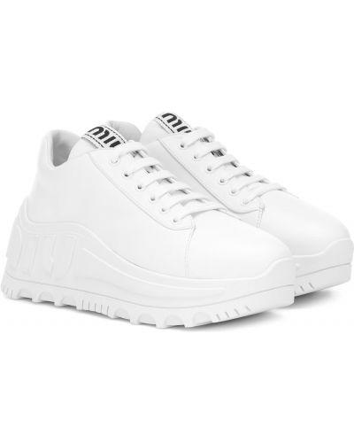 Кожаные кроссовки белый Miu Miu