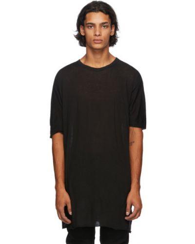 Трикотажная черная футболка с воротником Boris Bidjan Saberi
