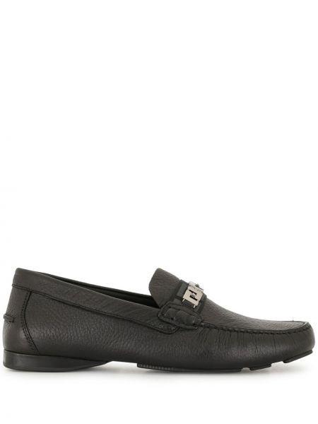 Czarny skórzany loafers okrągły okrągły nos Versace