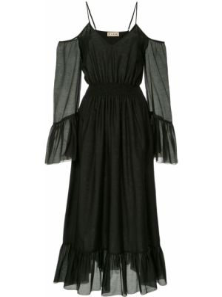 Черное платье миди на молнии эластичное с открытыми плечами Flow The Label