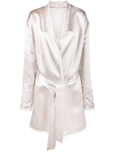Różowa długa kurtka z długimi rękawami z wiskozy Attico
