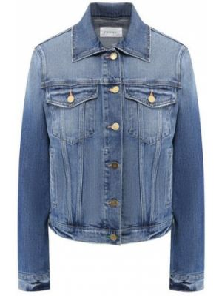 Прямая синяя нейлоновая джинсовая куртка с карманами Frame Denim