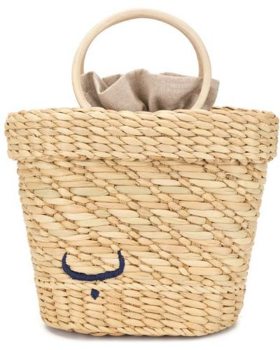 Коричневая сумка-тоут с вышивкой на шнурках Poolside