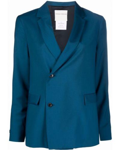 Синяя длинная куртка двубортная с карманами Stephan Schneider