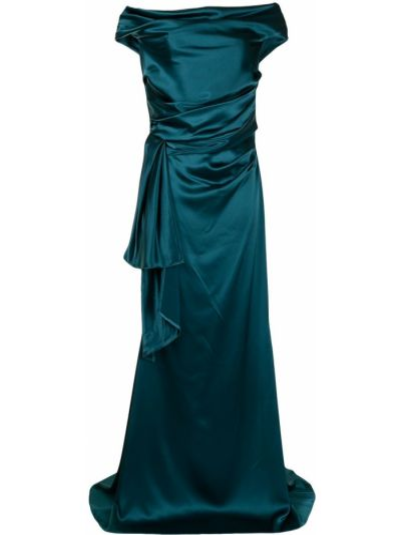 Платье мини атласное - зеленое Talbot Runhof