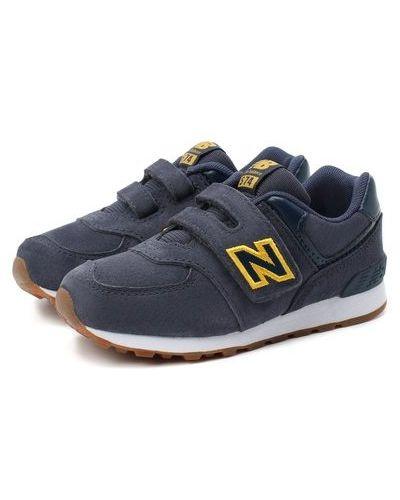 Синие кожаные кроссовки New Balance