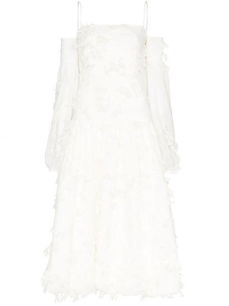 Платье миди с открытыми плечами с аппликациями Xu Zhi