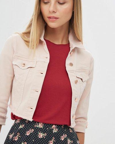 Джинсовая куртка весенняя розовая Motivi