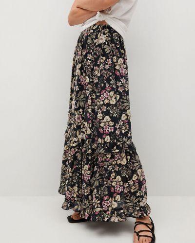 Czarna spódnica z falbanami rozkloszowana Mango