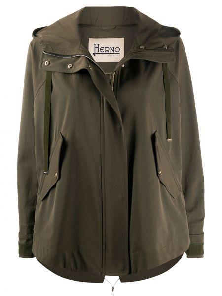 Хлопковая зеленая длинное пальто с капюшоном Herno
