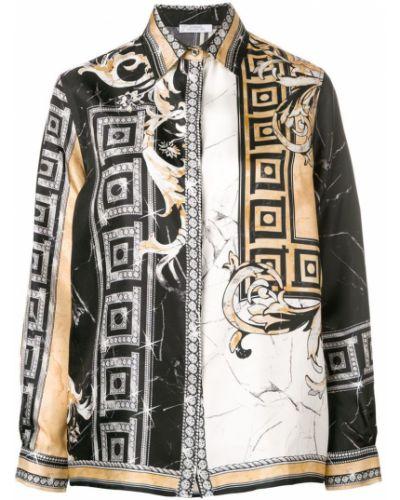 Классическая свободная черная классическая рубашка на пуговицах Versace Collection
