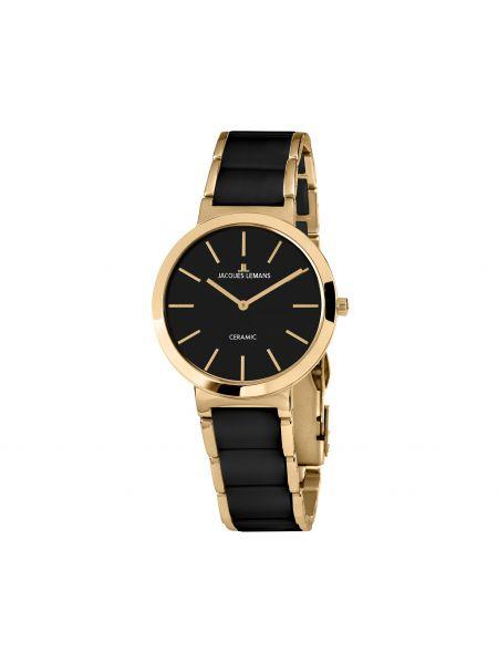 Złoty zegarek - czarny Jacques Lemans