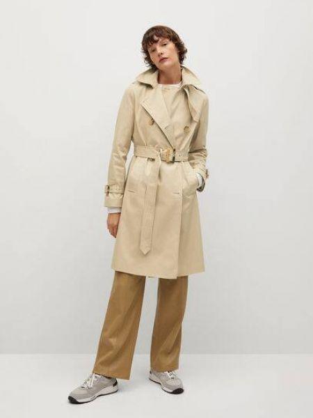 Бежевое длинное пальто с воротником на пуговицах Mango