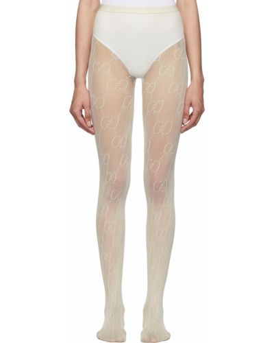 Rajstopy z nylonu - białe Gucci