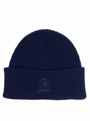 Шерстяная шапка бини - синяя Tommy Hilfiger