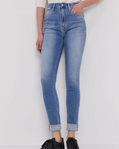 Niebieskie jeansy rurki bawełniane Calvin Klein Jeans