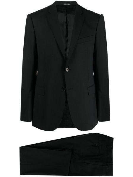 Czarny garnitur wełniany z paskiem Emporio Armani
