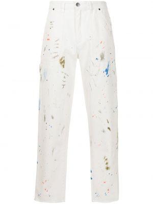 Białe jeansy bawełniane z paskiem Alchemist