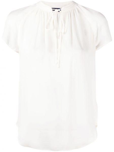 Шелковая бежевая рубашка с коротким рукавом с короткими рукавами с круглым вырезом Polo Ralph Lauren