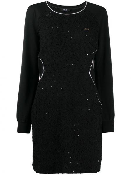С рукавами черное платье макси с пайетками Liu Jo