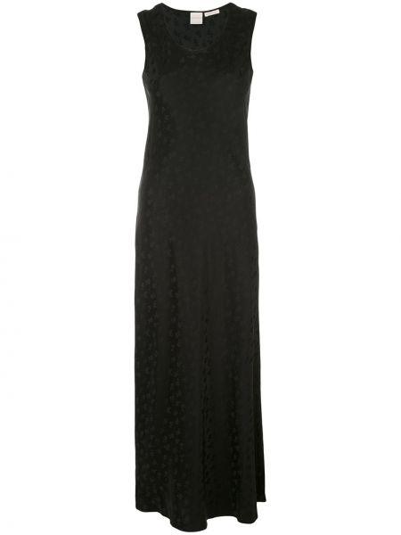 Шелковое черное платье макси без рукавов Zanini