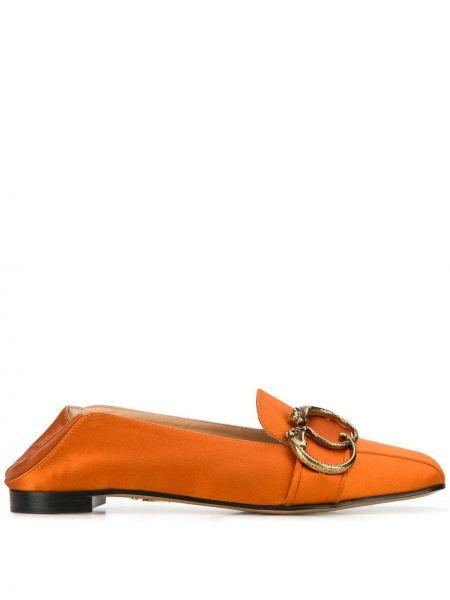 Pomarańczowe loafers skorzane na niskim obcasie Charlotte Olympia