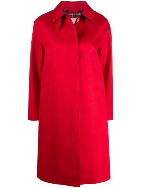 Красное пальто классическое с воротником с карманами Mackintosh